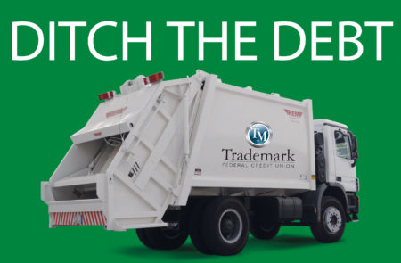 Ditch the debt picture of garbarge truck